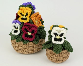 PDF Pansies potted plant CROCHET PATTERN (pansy baskets)