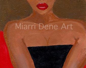 ZARA, african American woman, black art, african american art print by Miarri dene