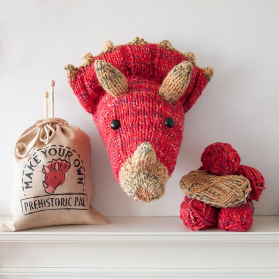 Faux red triceratops knitting kit make your own prehistoric pal faux red triceratops knitting kit make your own prehistoric pal diy taxidermy dinosaur trophy head from sincerelylouise on etsy studio solutioingenieria Choice Image