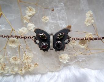 Quarz, Granat, CZ-Schmetterling-Halsband, rustikaler Kupfer Kristall Kette Halsband