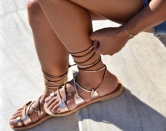 Gladiator sandals, Leather sandals, Greek sandals, Leather sandals women, Wedding sandals, rose gold sandals, SPARTI