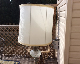 Rare Vintage Set Cream/ Gold Silk Screen Print Lamp Shades, Set Of 2,