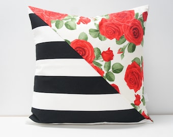 Pillow Cover - Patchwork Pillow Cover, 20x20, black and white stripes, red roses floral