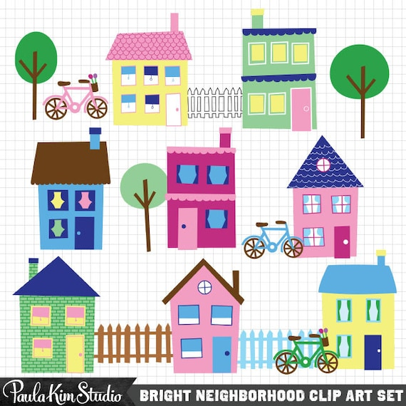 house clip art neighborhood clipart town clip art downloadable rh etsystudio com clipart neighborhood party neighborhood clipart png