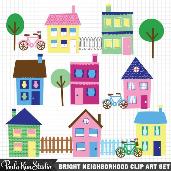 House Clip Art Neighborhood Clipart Town Clip Art