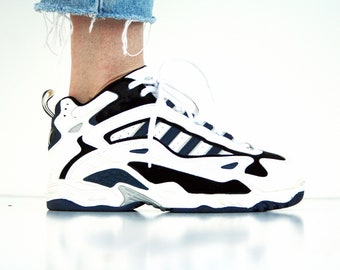 Women's Size 7.5 or Men's size 5.5: Dad Sneaker - UNISEX Blue and White Trendy 80's Tie Up Vegan Tennis Shoes