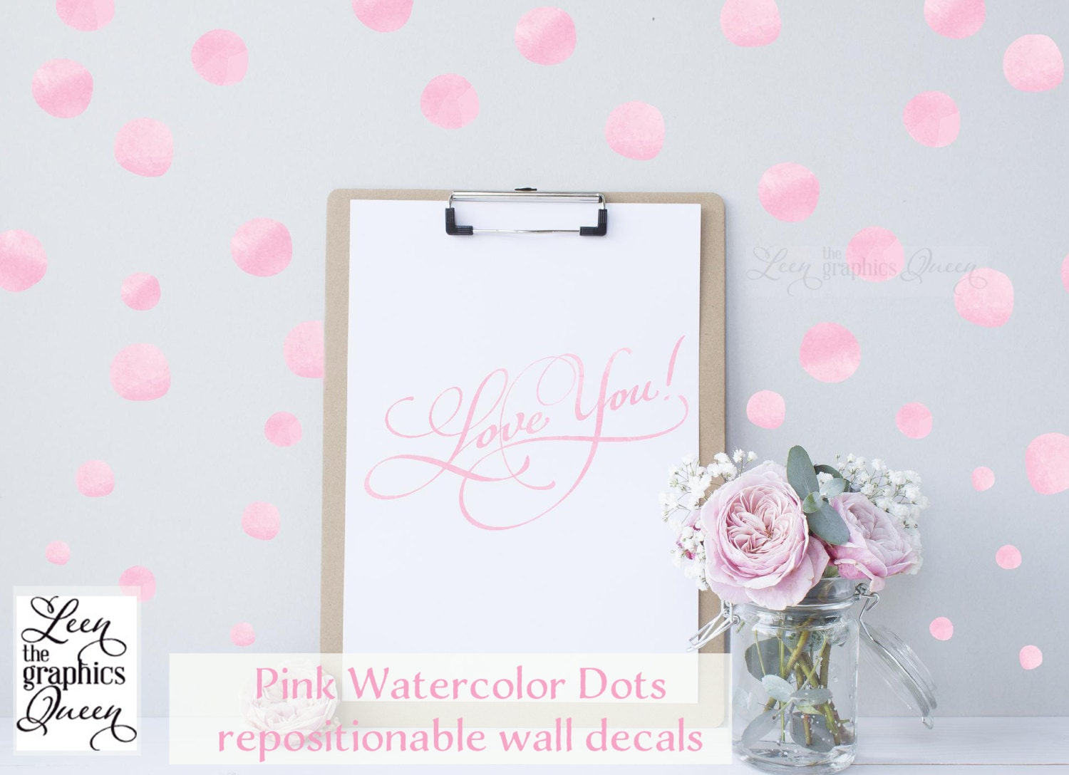 Watercolor Circle Dot Shaped Wall Decals Peel and Stick 100