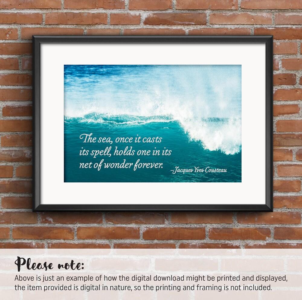 Meer-Fotografie mit typografischen Jacques Cousteau Zitat