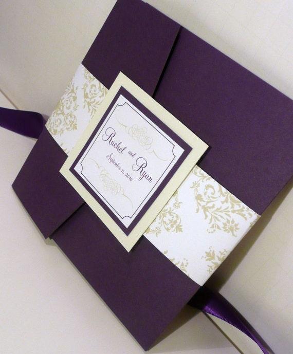 Dark Purple Wedding Invitations: Pocketfold Wedding Invitation / Dark Purple Invites / Mint And