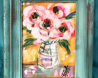 """Pink Roses Original Abstract Flower Painting In Wood Frame 5x7"""" Ready to Ship YelliKelli"""