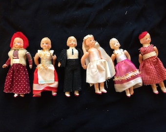 VERY RARE Vintage Set of Dollhouse Miniature Dolls, Wedding Celluloid Dolls, Made in Japan, Bride Groom Bridesmaids/Guests - 1950