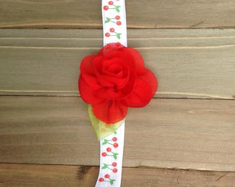 Red Rose Cherry Headband Flower girl Flowergirl Bridesmaid accessory Newborn headband Baby Girl Headband Girl Headband Photo Prop