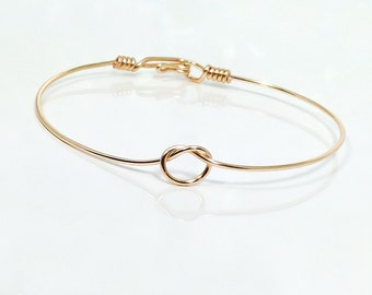 Tie the knot bracelet, bangle bracelet, wire knot bracelet, knotted bracelet, bridesmaid bracelet, infinity bangle, bridesmaid gift, gifts