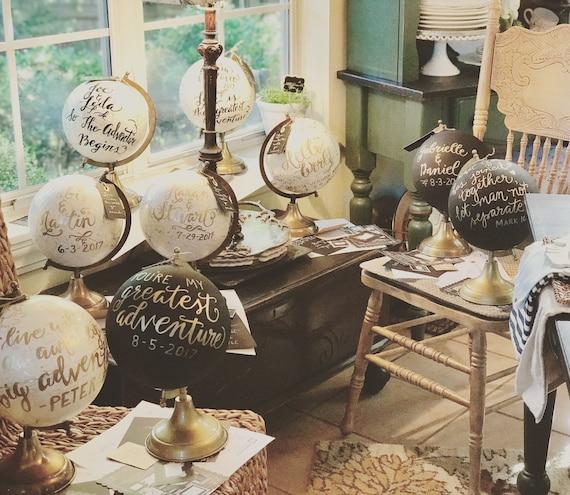 Custom Calligraphy Globe/Choice of Wording/ White and Gold Calligraphy or Black Globe/ Custom Calligraphy/Choice of Ink / Wedding /Nursery