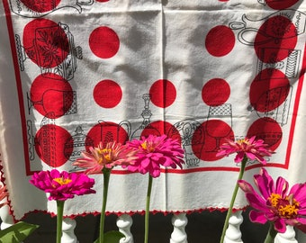 Vintage Crochet Edge Startex Small Tablecloth