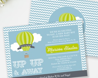 Up and Away Baby Shower Invitation, Hot Air Balloon Baby Shower Invite, Boy Baby Shower, Travel Baby Shower Invitation, Blue and Green, #A3