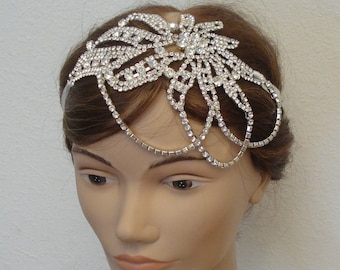 Rhinestone Bridal Headband Attached to a Pure Silk Ribbon in Ivory, White, Black - Ships in 3-5 business Days