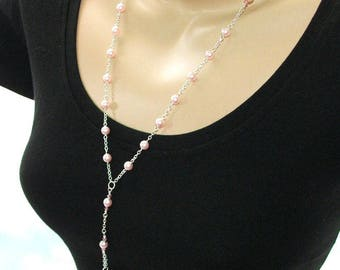 Christian Rosary Necklace, Pretty Pink Pearls for a Christening, Wedding or Other Special Occasion