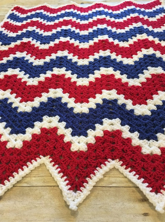 Crochet Baby Blanket Chevron Baby Blanket Red White Blue
