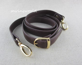 118cm Deep Brown Color Synthetic Leather Purse Strap Crossbody