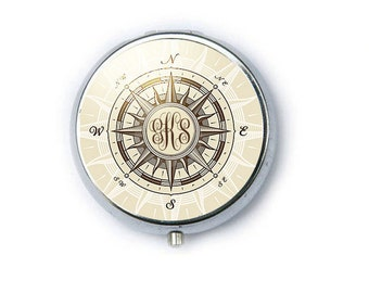 Personalize Compass Monogram Compact Mirror, Two way 2x Magnifying Make Up Pocket Mirror