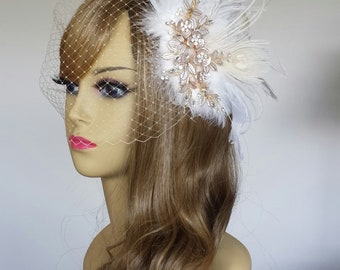 """BRIDAL HEADPIECE, Stunning Champagne Bridal Headpiece Available With or Without Birdcage Veil, Ivory Bridal Headpiece (3 Pieces)- """"CHEYENNE"""""""