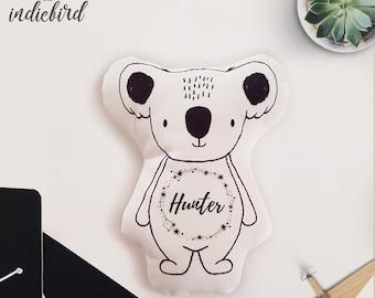 Personalised Koala Plush Rattle or Pillow, baby rattle, plush toy, Koala pillow, Monochrome, Stars, keepsake, Baby shower gift