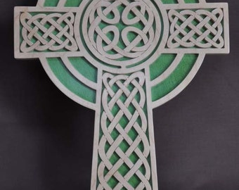 Celtic Gaelic  Cross Scrolled Wooden Cross Wall Hanging Gift