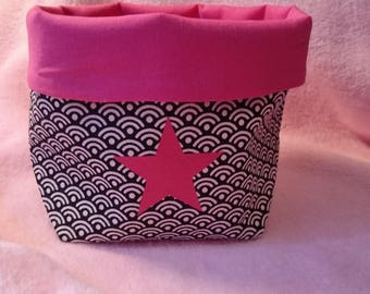 empty - Pocket / reversible in black and white scales and pink Japanese fabric storage basket