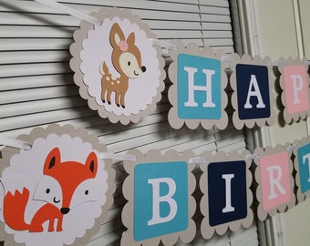 Woodland birthday banner, Woodland banner, Woodland decorations, Woodland party
