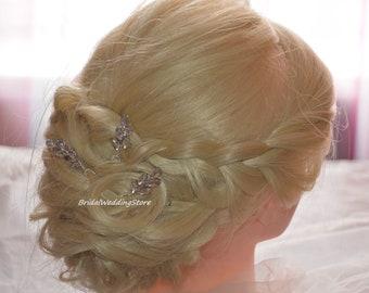Set of 3 Rhinestone Hair Pins Branch Bridal Hair pin Crystal hair pins Wedding hair pins Bridal headpiece Wedding headpiece Crystal Leaf Pin