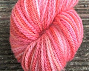 Quince Jelly hand dyed Australian 8ply fine merino wool yarn.