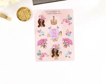 Butterfly Queen Deco Planner Stickers - African American, Dark Skin Tone Women