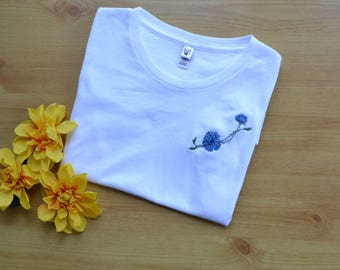 Embroidered T-shirt, Blue Floral  Embroidery, Hand Embroiered Clothing, Organic Cotton T-shirt