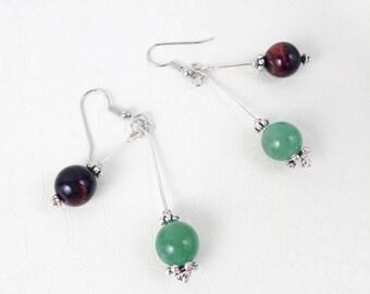 Earrings 'Maude' III - Aventurine and tiger's eye gemstones - Statement earrings, boho chic, ethnic earrings, handmade jewelry
