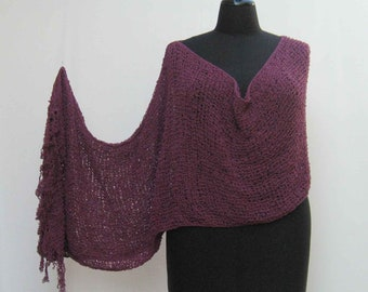 Purple poncho, asymmetrical poncho, purple wrap, upcycled poncho, mulberry poncho, hand knitted poncho, purple cape, mulberry shawl