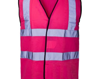 Hot Pink Hi Visibility Reflective Safety Vest Hi Viz Ideal for Printing or Embroidery Great for Riding Walking or Running