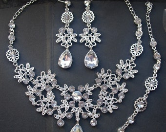 Bridal jewelry set bridal crystal necklace bridal crystal earrings wedding jewelry set wedding rhinestone necklace wedding teardrop earrings