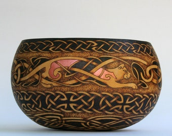 Celtic Cats Pyrography Wood burned Gourd Art Bowl