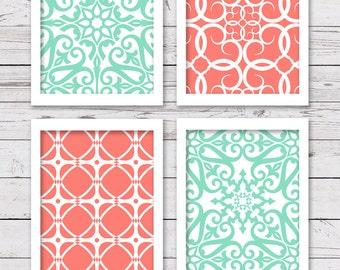 Mint and Coral Art, PRINTABLE Art, Bedroom Art, INSTANT DOWNLOAD, Modern Art, Printable Art Set, Set of 4 Art Prints, Wall Decor