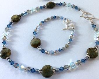 Labradorite and Swarovski Jewelry Set