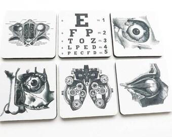 Eye Doctor Drink Coasters optometrist ophthalmologist anatomy optical gift set  graduation party favors stocking stuffers black white