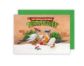 "Two Teenage Mutant Ninja Turtle Doves Christmas Card Reads ""Merry Christmas Dude"" inside"