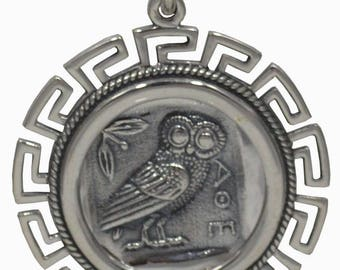 Owl Of Wisdom X-Large Coin Pendant with Meander Design - Goddess Athena