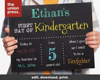 First Day Of School Sign Printable - Back To School Sign - School Chalkboard Sign - Instant Download