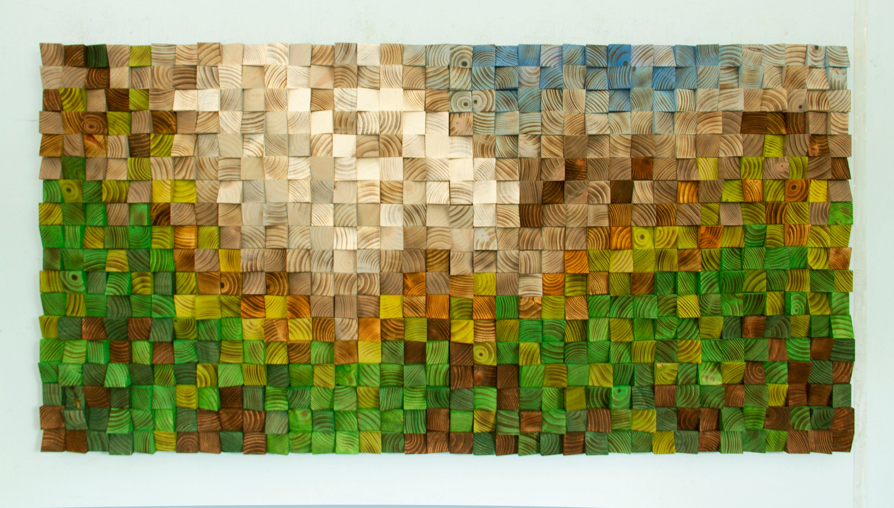 Wood Wall Art, Landscape Painting, 3D Wood Wall Art, Reclaimed Wood ...