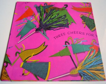 Vintage 1970s Any Occasion Wrapping Paper Hot Pink Cheerleader Gift Wrap