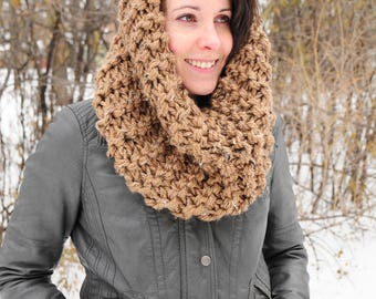 Outlander cowl, Hand knit cowl, caramel brown cowl, snood scarf, gift for her, Christmas gift, Birthday gift, accessories