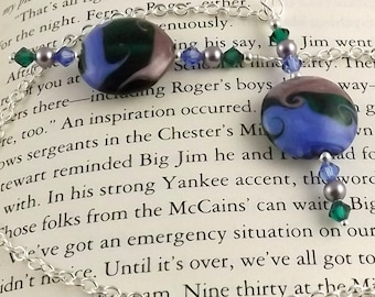 Molly Lampwork Glass Swarovski Crystal and Chain Bookmark aka Book Thong a perfect addition to your library