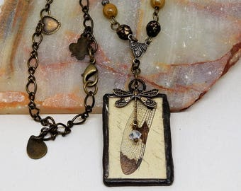 Fairy Wing Necklace, Fairy Wing Pendant, Cicada Wing, Dragon Fly Pendant, Dragon Fly Necklace